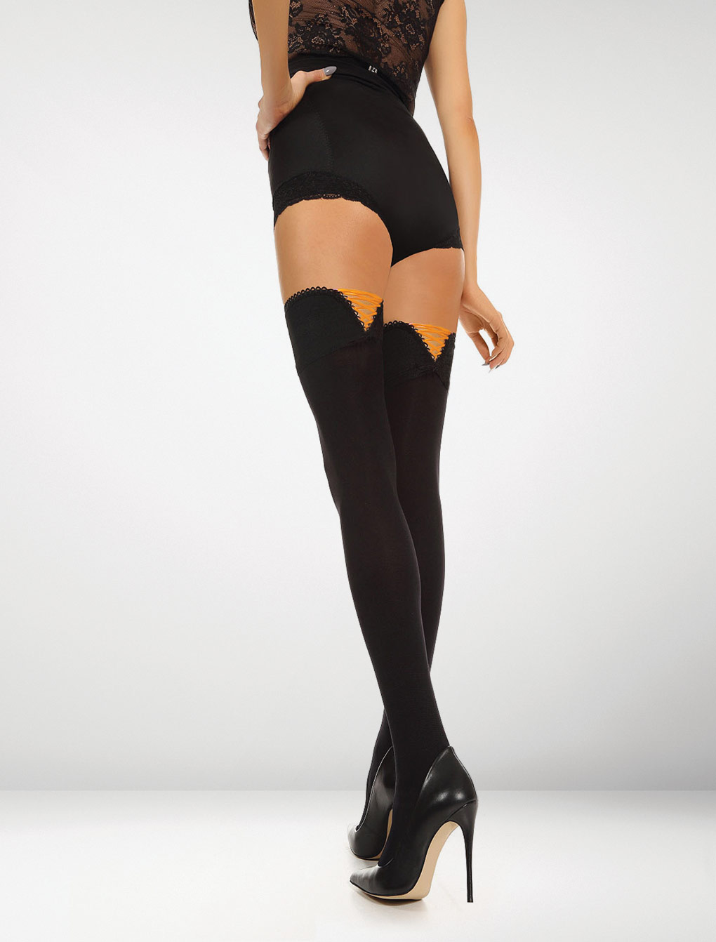 Ferrara 80 Denier Hold Ups Perfect Fit - Black / Orange Delight Accent