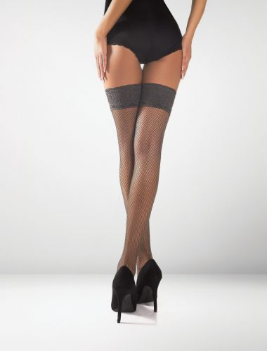Messina Fishnet Hold Ups - Graphite