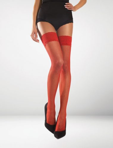 Messina Fishnet Hold Ups - Red