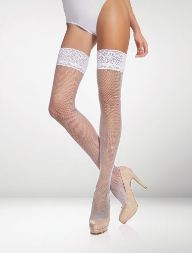 Messina Fishnet Hold Ups - White