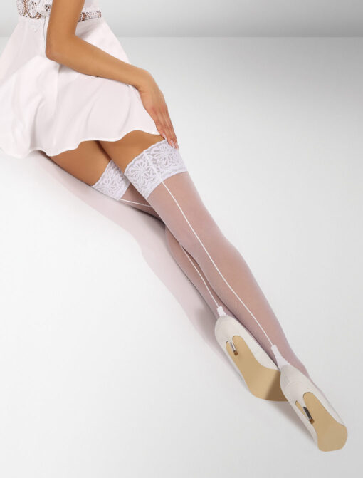 Palermo Seamed Hold Ups - White