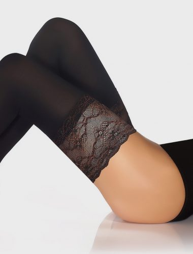 Roma 80 Denier Hold Ups - Black